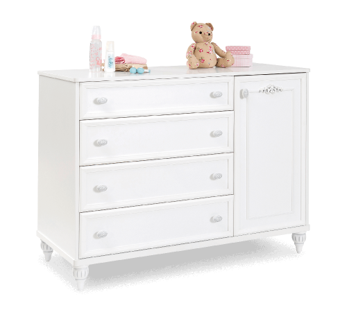 Romantic commode ladekast wit, grote commode, ladekast met kastje wit, grote ladekast