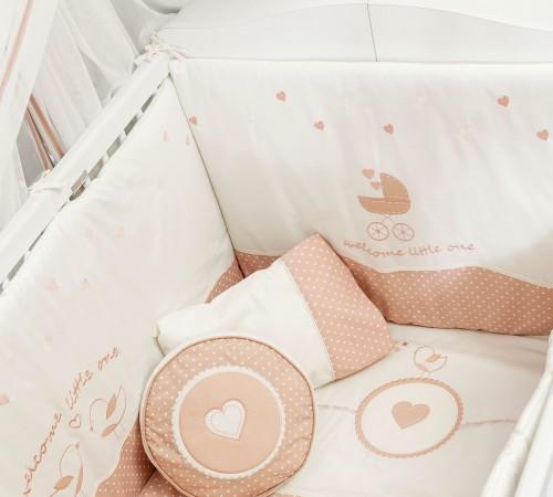 Romantic babybed kussenset, stootkussen babykamer meisjes