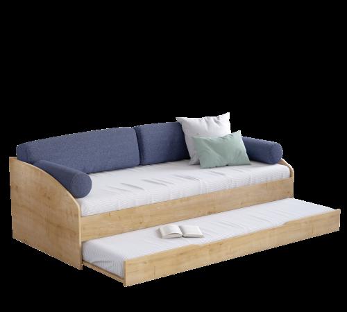 Stockholm bedbank houtlook, bedbank met kussens houtlook, bedbank met opbergruimte, bedbank met lade, bedbank met logeerbed, bedbank jongenskamer, bedbank meisjeskamer
