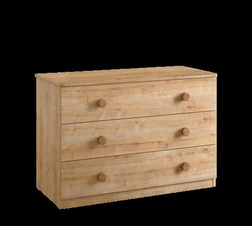 Stockholm commode ladekast groot, ladekast 3 laden houtlook, meubels kinderkamer, meubels tienerkamer, kinderladekast houtlook