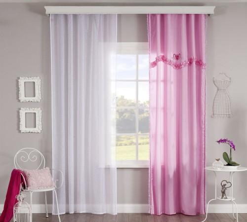 Rosa roze gordijn en vitrage Sweety inspiratie kinderkamer meisjeskamer prinsessenkamer tienerkamer
