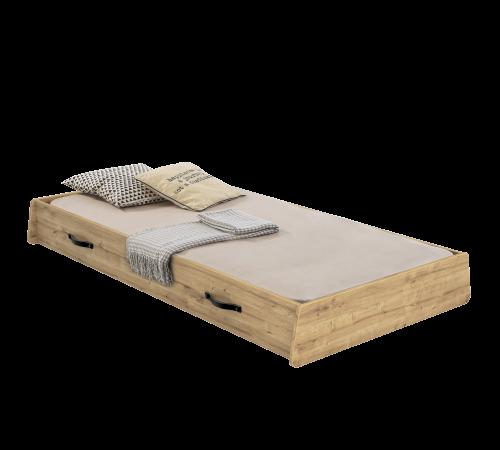 Timber bedlade, lade onder bed, logeerbed onder bed, inspiratie industriële slaapkamer, industriële slaapkamer ideeën