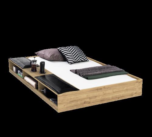 Timber bedlade logeerbed met schappen en kussentjes, lade onder bed, logeerbed onder bed, industriële slaapkamer ideeën, inspiratie industriële slaapkamer