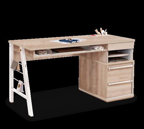 Toscane lade bureau tienerkamer, bureau houtlook met lade, bureau met veel opbergruimte, groot bureau jongens, bureau meisjes