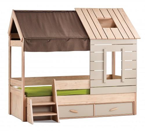 Cento bedhuisje kinderbed, jongensbed houtlook, meisjesbed houtlook, bedhuisje met opbergruimte, kinderbed met lade, inspiratie kinderkamer houtlook