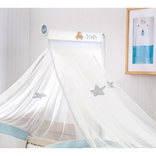 Babykamer Blauw muskietennet klamboe, klamboe baby, muskietennet babykamer, ledikant