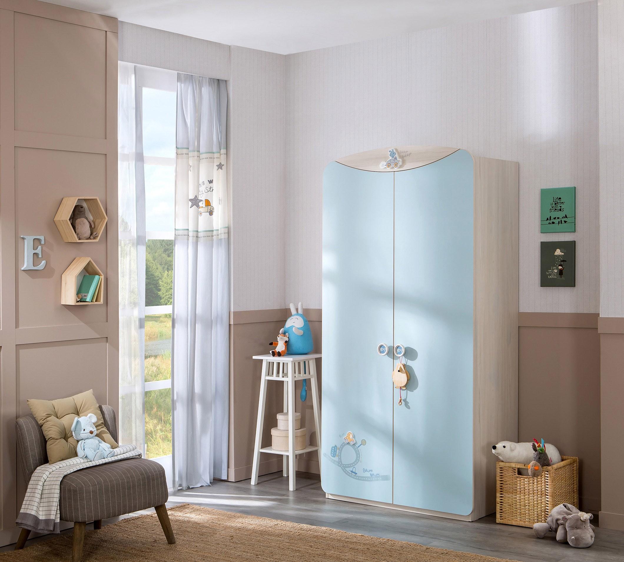 meegroeibed babykamer blauw gordijn 2 deurskast babykamer blauw
