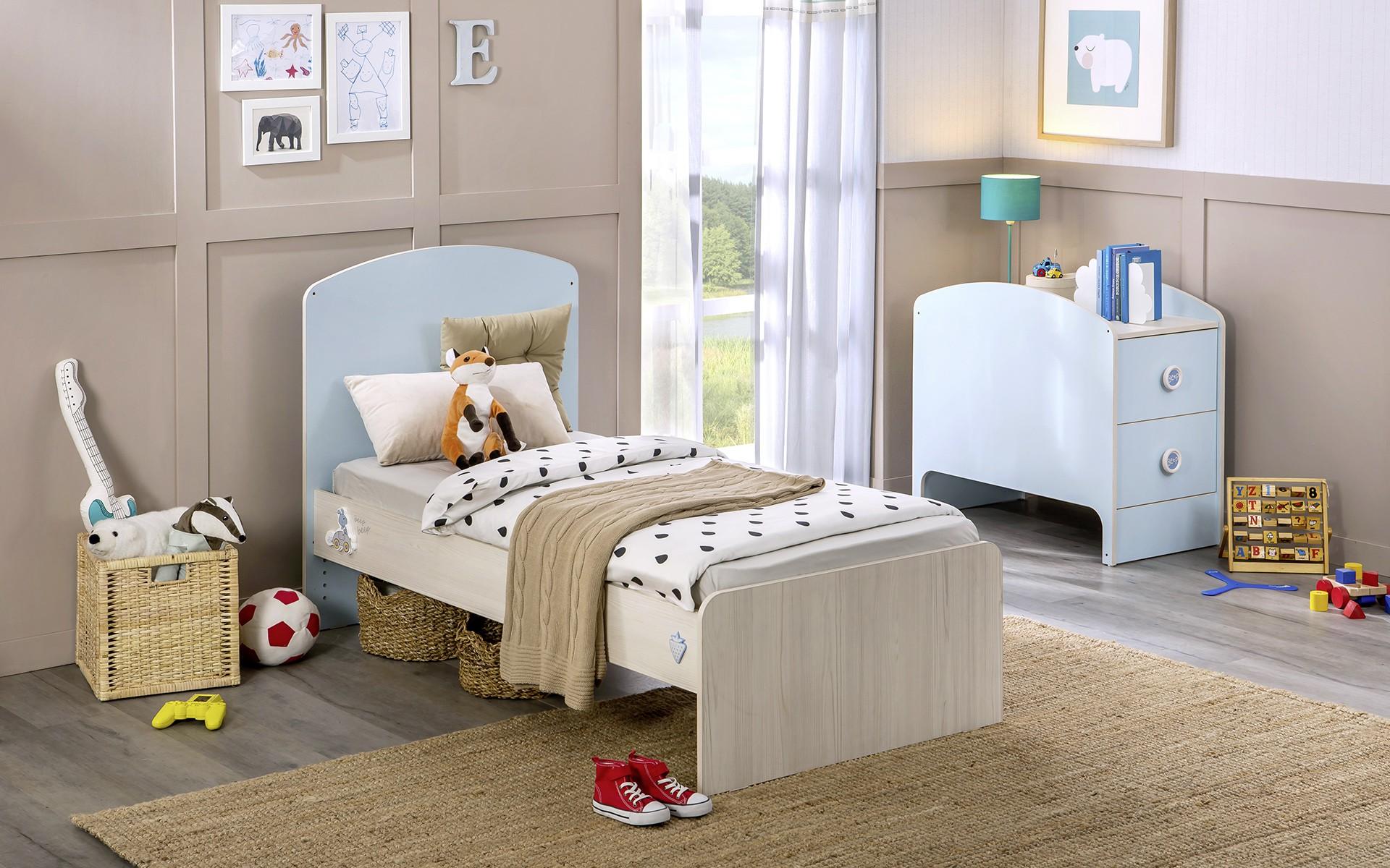 Babykamer blauw babybed ledikant meegroeibed jongens specialist in
