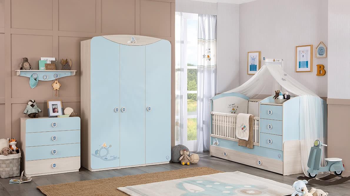 Gordijn Babykamer Babykamers : Babykamer blauw gordijn jongenskamer specialist in kinderkamers en