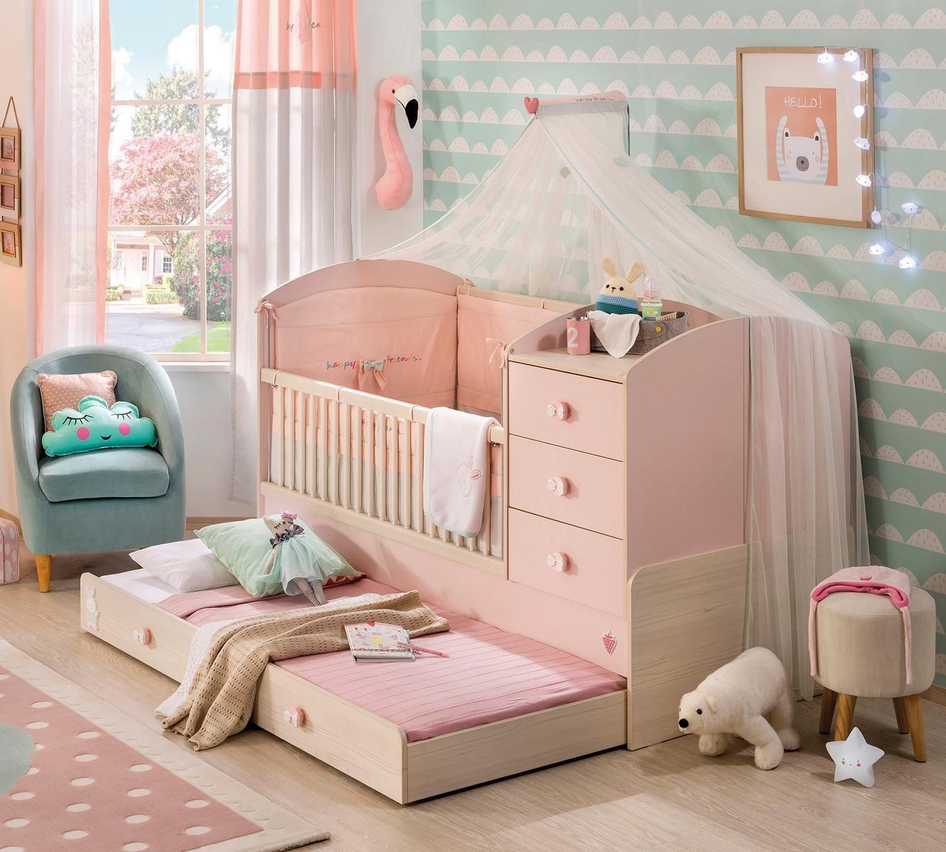 Babykamer roze babybed ledikant meegroeibed | 4 in 1 Specialist in ...