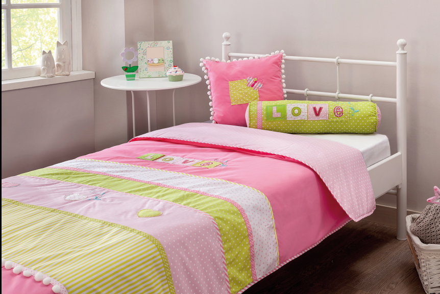 Roze love bedsprei kussenset meisjeskamer gratis verzending