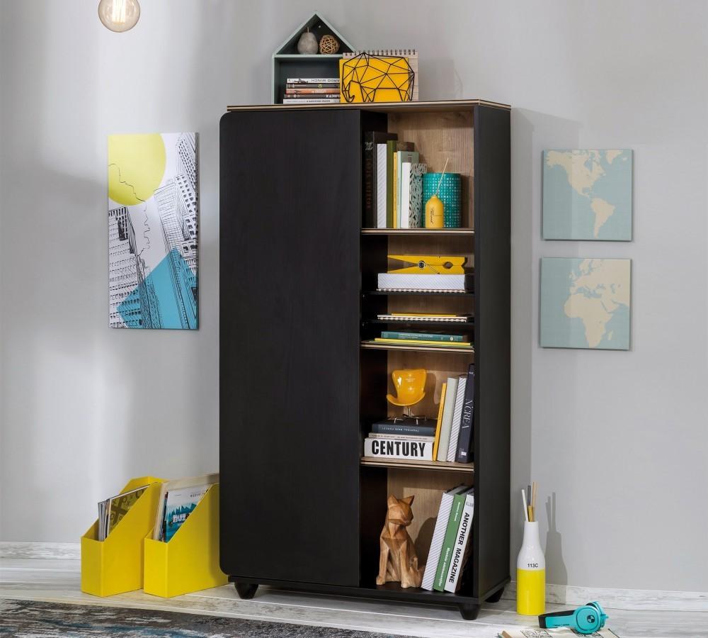 Zwarte Slaapkamer Kast.New York Compact Boekenkast Kast Zwart Tienerkamer Specialist In