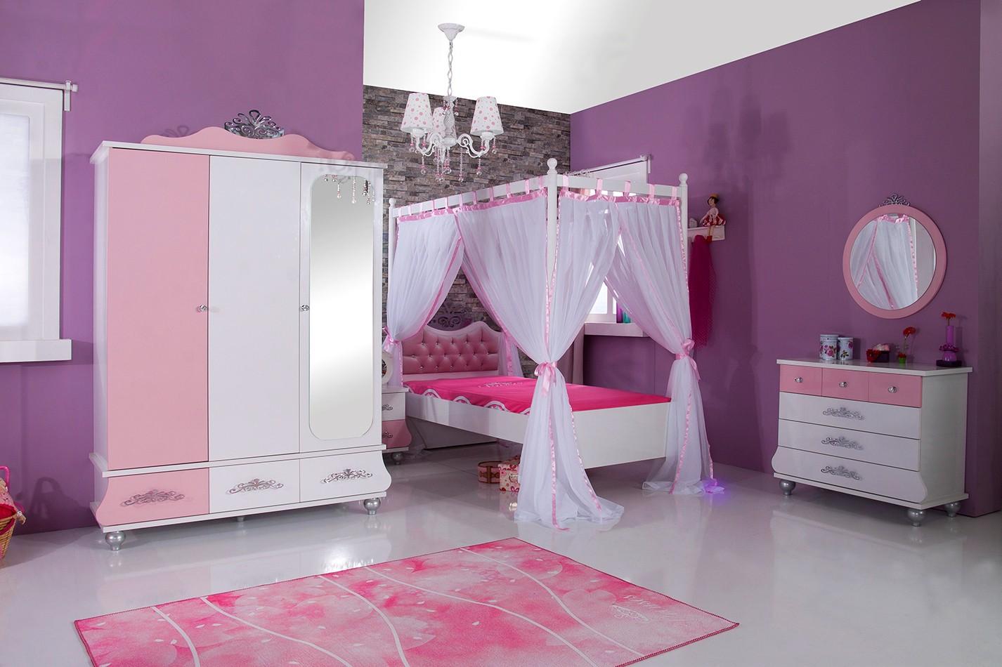 Slaapkamer Paars Wit : Kindernachtkastje roze wit prinsessenkamer meisjes specialist in