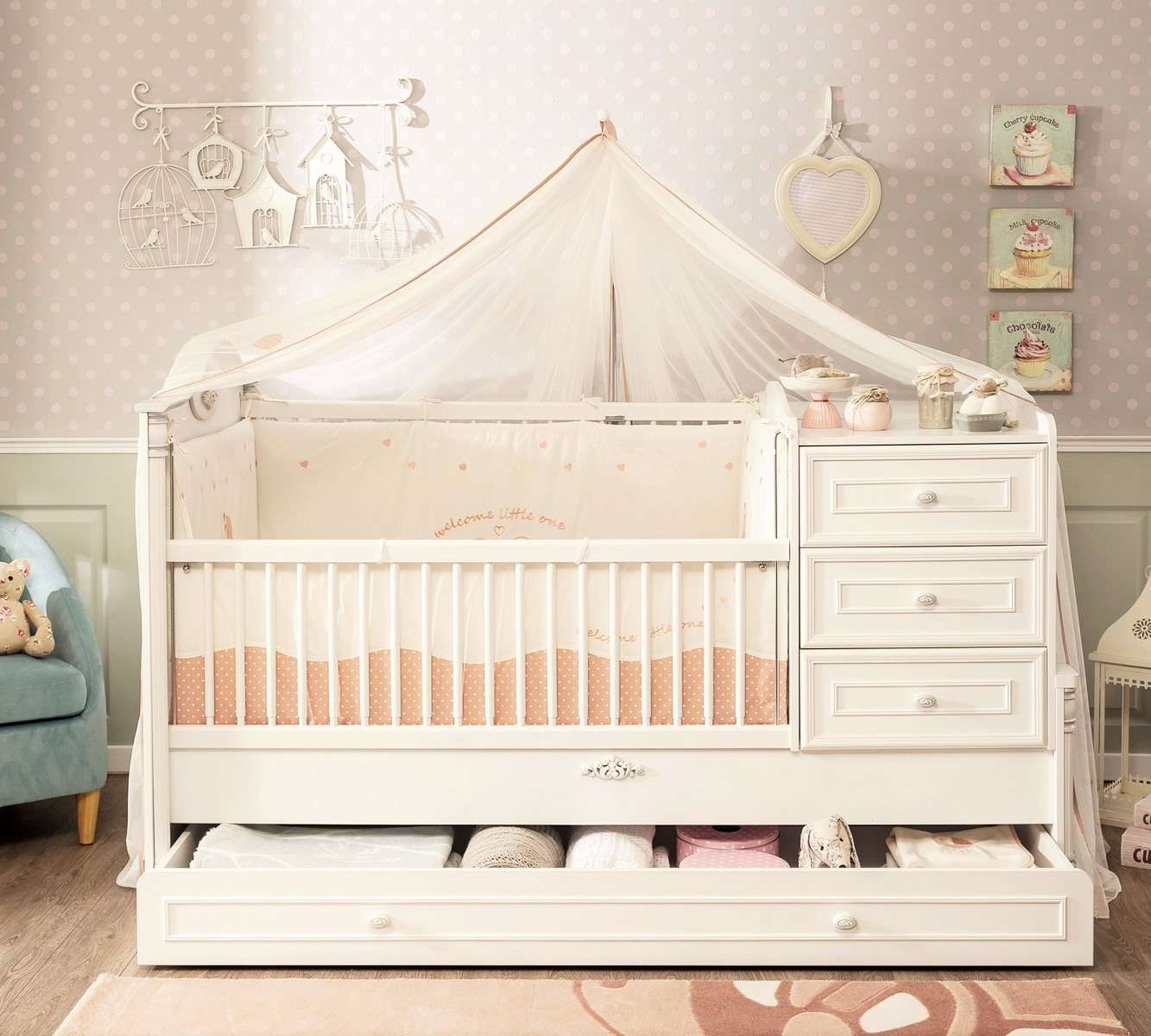 Baby Ledikant Compleet.Romantic Babybed Ledikant Meegroeibed 4 In 1 Specialist In