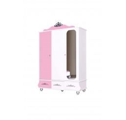 Prinses Roze kinderkledingkast 3-deurs meisjeskamer