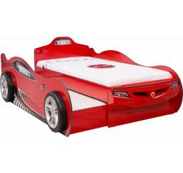 Autobed met logeerbed rood jongens bed