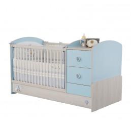 Babykamer blauw babybed ledikant meegroeibed jongens