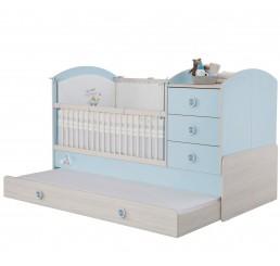 Babykamer blauw babybed ledikant meegroeibed | 4 in 1