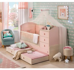 Babykamer roze babybed ledikant meegroeibed | 4 in 1