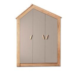 Cento 3-deurs kledingkast huisje kinderkamer