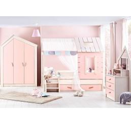 Cento Pink | bedhuisje - 3 deurs kledingkast - boekenkast