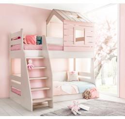 Cento Pink stapelbed bedhuisje meisjeskamer 200x90 - 200x100 cm