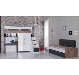 Compact | hoogslaper - bed - 2 deurskast - bureau - bedlade