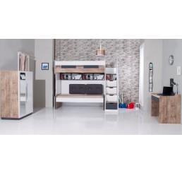 Compact | hoogslaper - bed - 2 deurskast - bureau