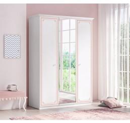 Emily Pink 3-deurs kledingkast met spiegel meisjeskamer
