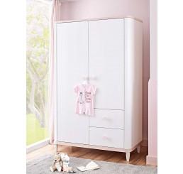 Femi 2-deurs kledingkast wit roze babykamer