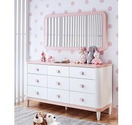 Femi commode wit roze babykamer groot