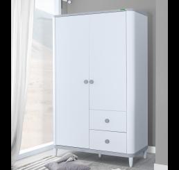 Novi 2-deurs kledingkast wit grijs babykamer
