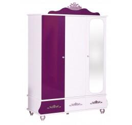Prinses Paars kinderkledingkast 3-deurs meisjeskamer