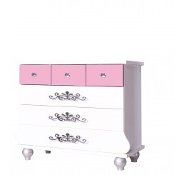 Prinses Roze kinderladekast commode meisjeskamer