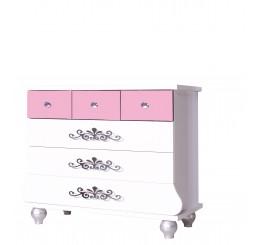 Prinses Roze kinderladekast commode meisjeskamer