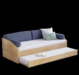 Stockholm bedbank houtlook met kussenset 200 x 90 cm