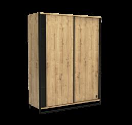 Timber industriële schuifdeur kledingkast tienerkamer