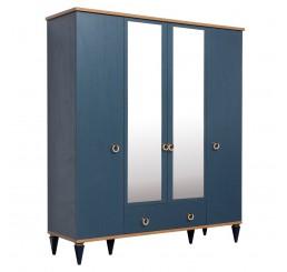 Toronto 4 deurs kledingkast donkerblauw tienerkamer